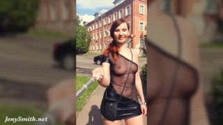 Summer Walk Jeny Smith walking in public with the transparent dress