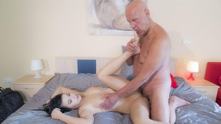 Bald old guy can barely fuck