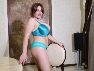 Bustylicious Jenny Oops is so sexy in shiny emerald lingerie