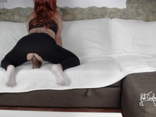 Fucking a BBC after gym in Yoga pants & White socks! Thinking in a interracial 3some