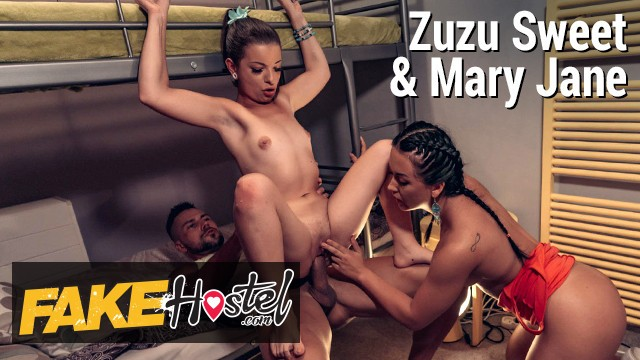 Fake Hostel Nerdy French girl has help to seduce geeky computer coder for threesome