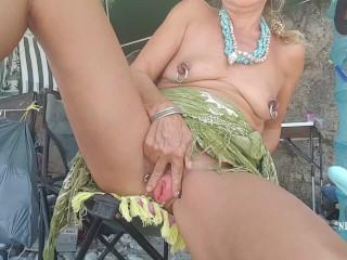 nippleringlover masturbating nude beach - rubbing clit pierced pussy honey on huge nipple piercings