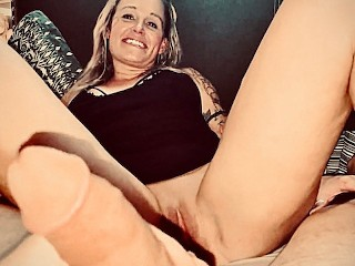 Wife Shows Spread Pussy Close Up and Cums Jerking Off Hubby