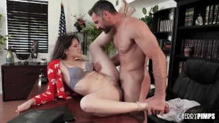 New Series Cheese! Job interview turns Into a desktop blowjob before the boss fucks her shaved pussy