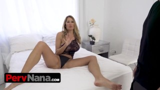 Horny And Lonely Nana With Big Boobs Wants Some Youthful Meat And Takes Two Cocks At The Same Time