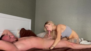 Wife woke up from passionate sex and got cum in mouth
