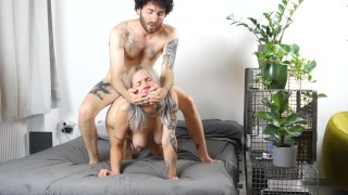 Pregnant girlfriend fucked hard from behind! Squirts tittyfucked and gets a huge load!