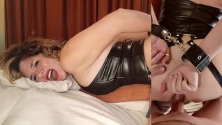 Busty tied up MILF with sexy long boot is subdued whipped and fucked in the ass Anal creampie