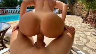 Perfect Body Blonde Fucks me by the Swimming Pool