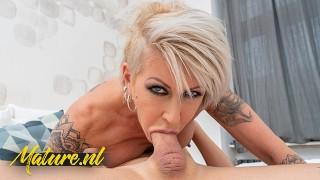 Freaky Blonde MILF Klarisa Eats Dick For Breakfast