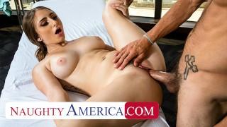 Naughty America Penelope Kay rubs and tugs a married man