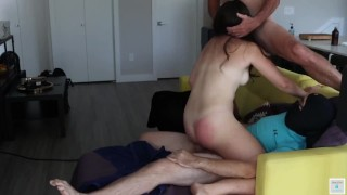 Husband and an old man fuck amateur wife Belle in the ass