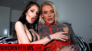 Kinky POV Tattooed Big Tits Lesbians in High Heels and Leash Spanking and Teasing - WHORNY FILMS