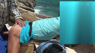 Outdoors on a cliff sex, with tied up Cock, and separated Balls.