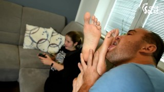 College girl plays video games as her feet get worshiped big feet young feet foot worship soles