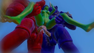 Furry Monsters and Alien Double Anal Squirting Orgasm