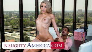 Naughty America Blonde stunner Madison Summers fucks friend's dad in his office to keep job