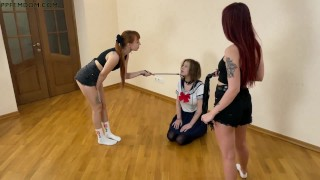 Group Lezdom Pet Play Humiliation With Two Badass Girls and Subby Slut