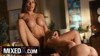 MIXEDX Lesbian milf Kitana Lure use her innocent stepsis Alexa to satisfy her sexual needs