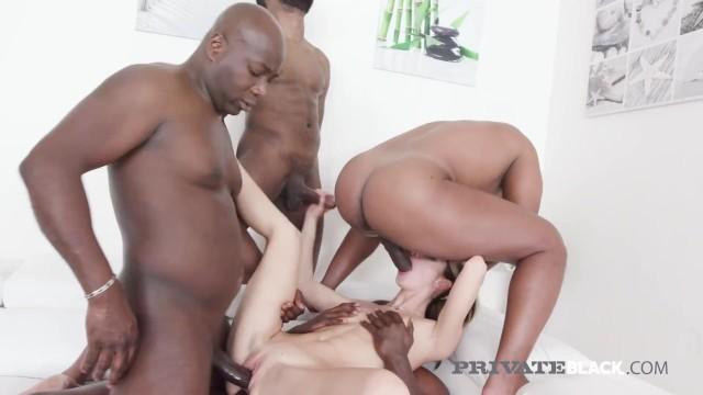 Private Black - Hot Blonde Gina Gerson Takes 4 Black Cocks!