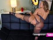 Curvy Kiwi babe Beth Bennet and her ripped nylons on Babestation