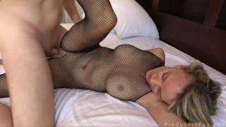 Blonde In Crotchless Bodystocking Gets Fucked