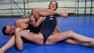 Mixed Sexfight Amirah Adara defeated by Muscular Guy with Creampie Cumshot