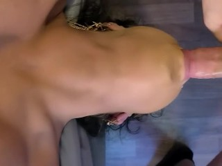 Busty Stepsister Deepthroats my cock and uses her tongue to lick it clean