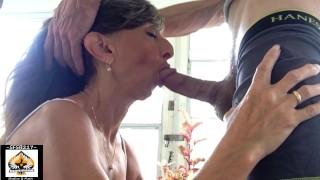 HOT Granny Swallows Every Drop After Noisy Blowjob