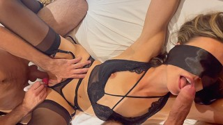 Friends Share Tied & Blindfolded Wife Husband Films Creampie and Cums on Her Pussy Female Orgasm