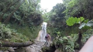 Guy walks trail to waterfall
