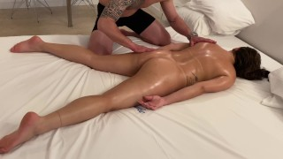 mature milf on a relaxing evening with massage and lots of anal sex with her lover at the motel
