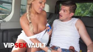 FUCKEDINTRAFFIC Big Ass Blonde Barra Brass Rides Cock In Hot Car Sex VIPSEXVAULT