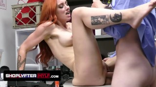 Redhead HighSchool Teacher Milf Caught Shoplifting And Disciplined In The Back Room From The Officer