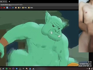 Jerking off to 3D Trap Porn on 4Chan and busting a huge load!