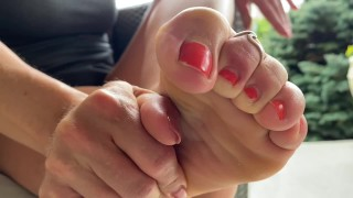 FIT AMERICAN MILF SWEATY SOCK AND SHOE REMOVAL- OUTSIDE