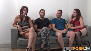 Swinger experience between some nervous couples!