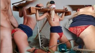 กักขัง ความงาม ระยำ โดย เซ็กส์ เครื่อง ผมบลอนด์ ที่รัก ใน bondage