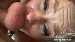 Recording Myself Getting Throat Fucked Hard : Huge Cum Facial and Swallow - Spunky Girl