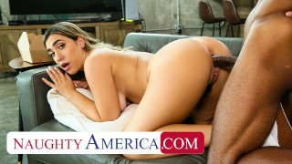 Naughty America Hot blonde with pierced nipples Lexi Grey fucks her friend's big cock brother on