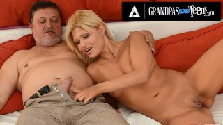 GrandpasFuckTeens Blonde Cutie Kitty Rich Puts Old Man's PullOut Game To The Test