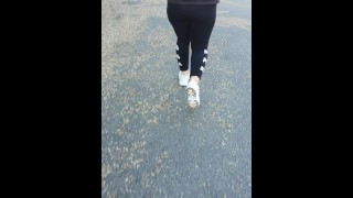 Step mom doesn't wear panties under Fila leggings get fucked in public place by step son