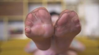 Dirty feet in stockings