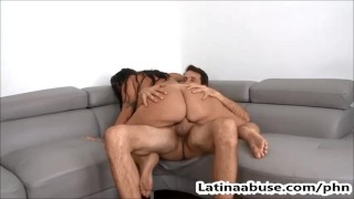 Sexy Latina Deep Throats 2 Big Cocks And Gets Fucked Roughly