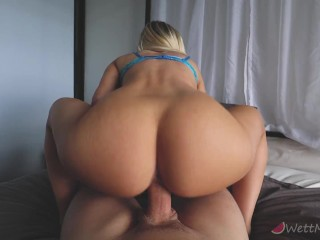 WettMelons Big Natural Tits Blonde Squat Fucks And Has A Bouncy Ride Followed By Cumshot On Tits