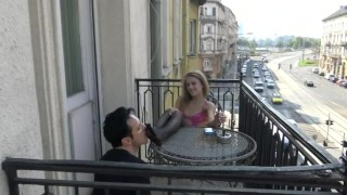 Nylon Princess Public Feet Worship - All have to see when he lick my feet!