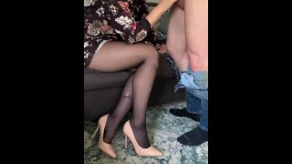 Teacher teases and blowjob to her student and get huge cum on legs in pantyhose