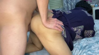 my stepmom stepaunt gets in doggy style & asks me to fuck her! 4k