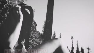 تحديات مراهقة وقحة | Lewd Pakistani Teen in niqab and lingerie Smoking on terrase in mountains