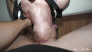 Deepthroat queen does it again, insane action, incredible bulge, total throat submission